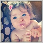 Sweet baby eating noodles - With Instagram effect