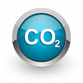 carbon dioxide blue glossy web icon