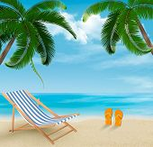 Beach with palm trees and beach chair. Summer vacation concept background.