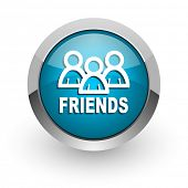 friends blue glossy web icon
