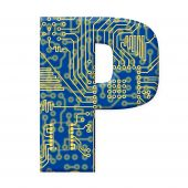 Letter From Electronic Circuit Board Alphabet On White Background - P