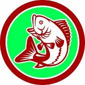 Largemouth Bass Jumping Circle Retro