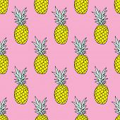 Seamless summer pineapple fruit illustration background pattern in vector