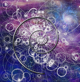 foto of higgs boson  - Spiral time and quantum particles in space Elements of this image furnished by NASA - JPG