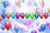 German Birthday Balloon Colorful Balloons