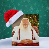Happy santa without his jacket against green christmas tree pattern