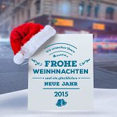 German christmas greeting against blurred new york street