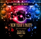 New Year's Party Flyer design for nigh clubs event with festive Christmas themed elements and space for your text.