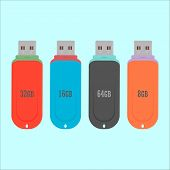 Set Of Flash Drive In Flat Style