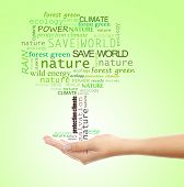 Concept of environmental protection, words in tree shape in hand on green background
