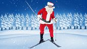 Portrait of happy santa claus skiing against snowy landscape with fir trees
