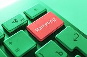 Close up of Marketing keyboard button