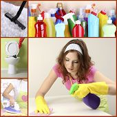 Clean concept. Young housewife with cleaning supplies and tools collage