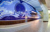 The Train Arrives At The Subway Station Gagarinskaya In Samara, Russia