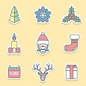 various christmas outline labels icons set