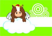 stock photo of winged-horse  - baby horse angel cartoon background in vector format very easy to edit - JPG