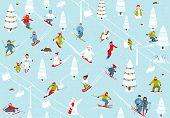 Cartoon Mountain Ski Resort Seamless Pattern