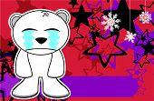 crying polar bear cartoon xmas background