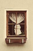 Vintage Wooden Window Frame With Curtain