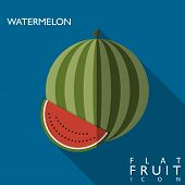 Watermelon Flat Icon Illustration With Long Shadow