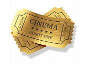 Golden Cinema Tickets With Shadow Isolated On White Background