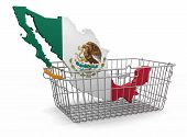 Shopping Basket and Mexican map (clipping path included)