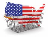 Shopping Basket and USA map (clipping path included)