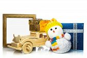 Snowman With Car, Gift Boxes And Frame