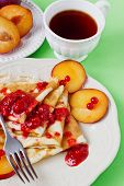 Appetizing Pancakes With Jam