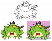 stock photo of mobsters  - Happy Frog Mobster With A Hat And Cigar - JPG
