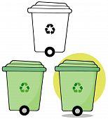 image of dust-bin  - Cartoon Rolling Green Recycle Bin - JPG