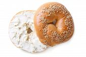 picture of bagel  - bagel with sesame and cream cheese isolated on white background - JPG