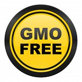 gmo free icon, yellow logo, no gmo sign