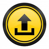 upload icon, yellow logo,
