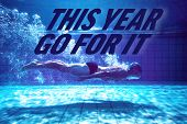 Fit swimmer training by himself against this year go for it