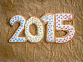 2015 New Year digits made of gingerbread home-made cookies on brown baking paper