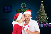 Young festive couple against blue background with vignette