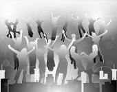 Happy people silhouettes dancing in city. Black and white colors. EPS 10 format.