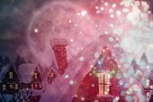 Cute christmas village under full moon against light design shimmering on red