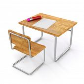 3d school desk and chair on white background