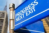 Progress Next Exit blue road sign