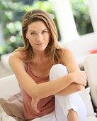 image of 35 to 40 year olds  - Portrait of attractive blond woman at home - JPG