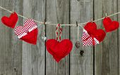 Red hearts and locks hanging on clothesline by rustic wooden fence