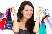 beautiful young brunette smiling woman shopping holding bags