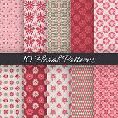 Cute floral seamless patterns. Vector illustration