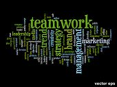 Vector concept or conceptual abstract success or teamwork word cloud or wordcloud isolated on background