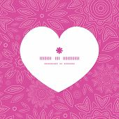 Vector pink abstract flowers texture heart silhouette pattern frame