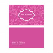 Vector pink abstract flowers texture horizontal frame pattern business cards set