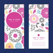 Vector vibrant floral scaterred vertical round frame pattern invitation greeting cards set