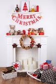 Decorated Christmas fireplace with inscription